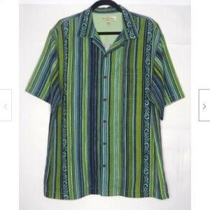Tommy Bahama Stripe 100% Silk Camp Shirt M